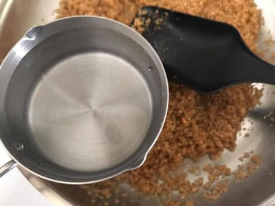 1 cup of water over the pan
