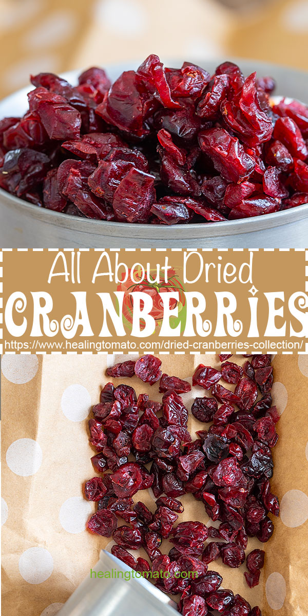 A collection of snacks, sides, main course and dessert recipes using dried cranberries. #healingtomato #driedcreanberries #cranberryrecipes #sides #holidayrecipes #reciperoundups @healingtomato