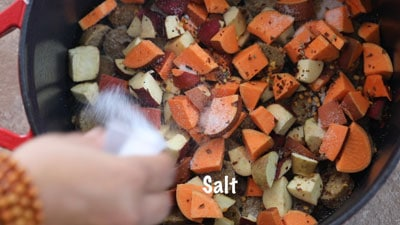 Salt drizzled over the ingredients in Dutch oven