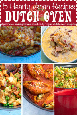 Image collage of 5 Hearty Vegan Recipes made in the dutch oven