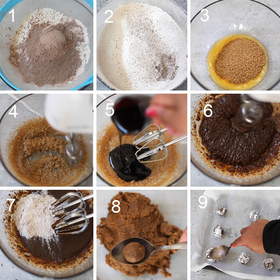collage of 9 images of every process of the baking the cookies. The images are numbered 1 through 9