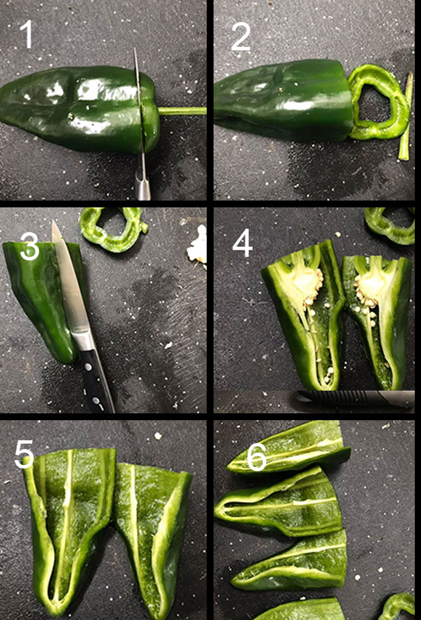 Collage of the steps involved in cutting poblanos
