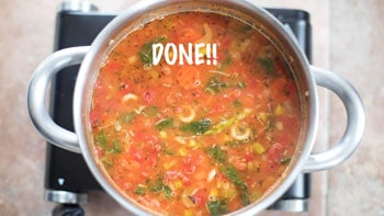 a top view of the completed soup