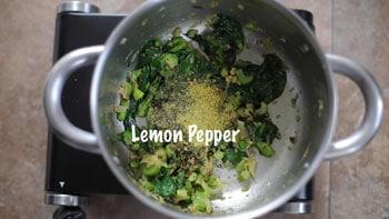 lemon pepper added to pan