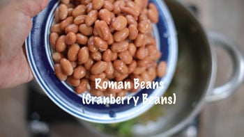 roman beans added to pan
