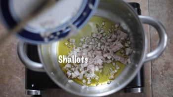 Shallots added to pan