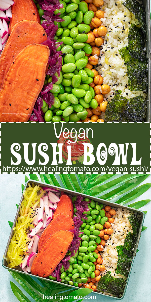 Deconstructed vegan sushi bowl made with mango, radishes, sweet potatoasts, cauliflower rice, edamame, and seaweed squares @healingtomato #ad #healingtomato #sushi #vegansushi #veganrecipes #veganlunch #veganfood #plantbased