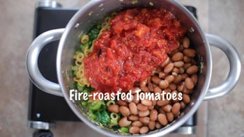 fire roasted tomatoes added to pan
