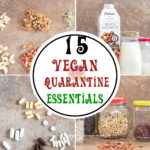 A collage of 4 vegan shopping list essentials