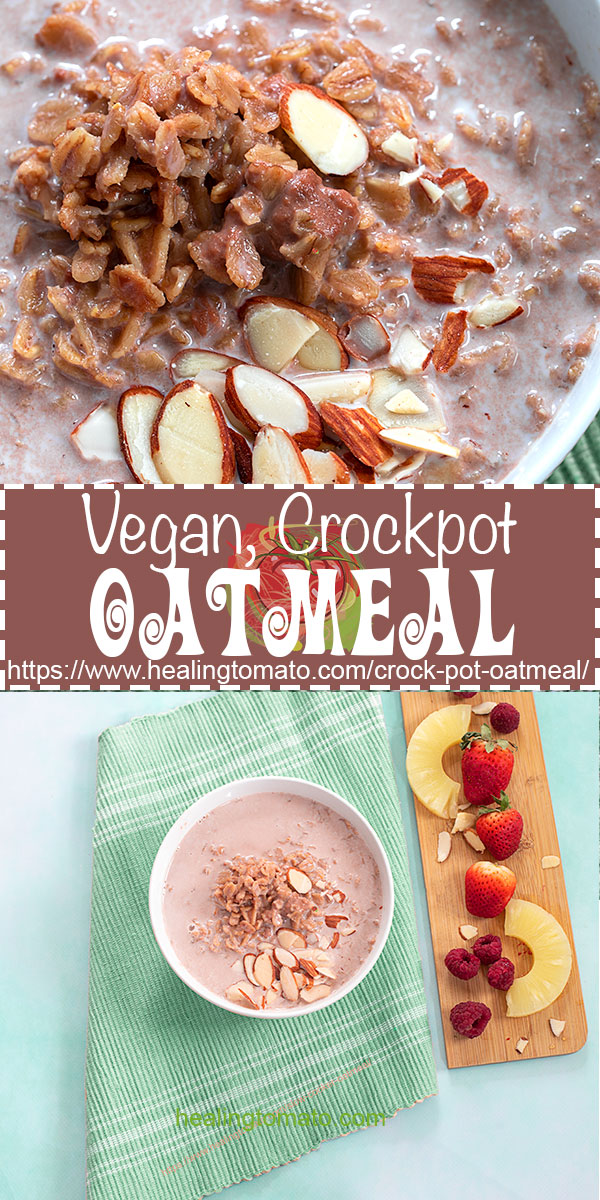 How to make oatmeal in the crock pot using vegan ingredients #healingtomato #oatmeal #crockpot #breakfast #vegan #chocolate #pineapple @healingtomato