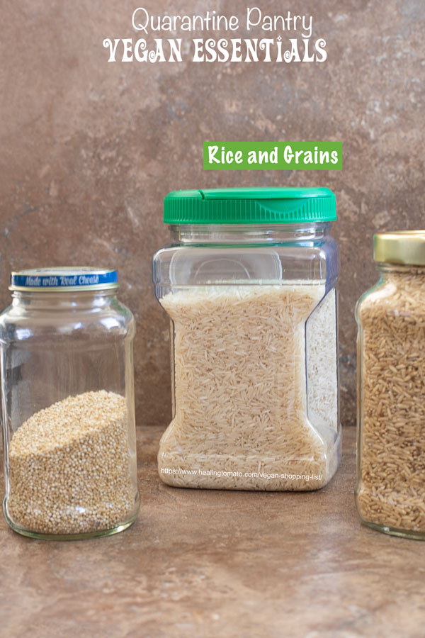front view of containers with rice, brown rice and quinoa for vegan shopping list