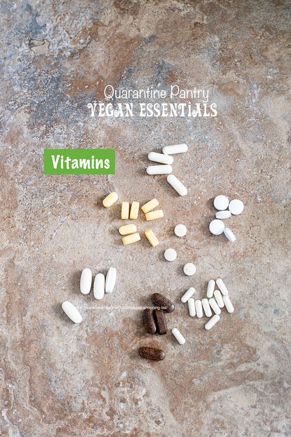 Top view of various vitamins