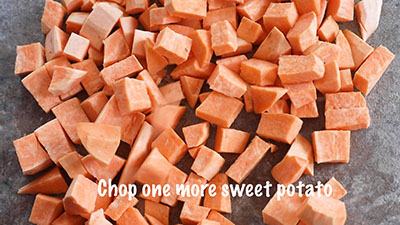 Closeup view of chopped sweet potatoes