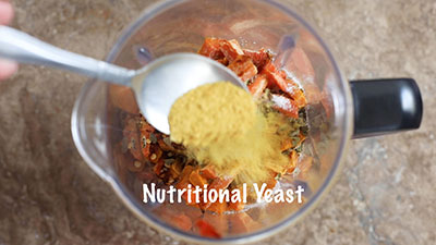 Nutritional yeast added to the blender