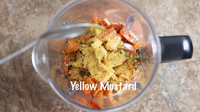 Yellow mustard added to the blender