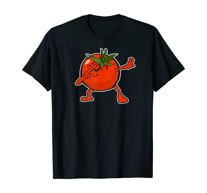a black t-shirt with a tomato that has hands and legs. The tomato is posed in a dabbing pose