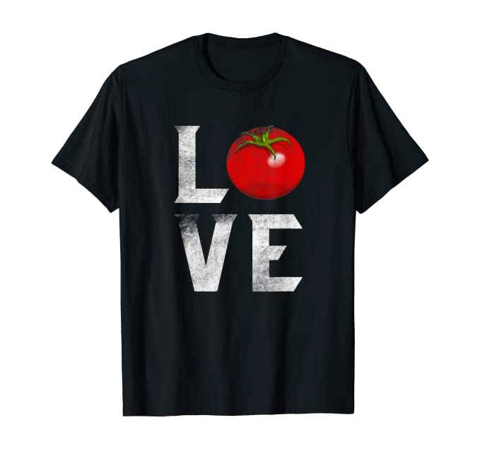 "black t-shirt with the letter ""L"" and a tomato next to it. On the next line, the letter ""V"" and ""E"""