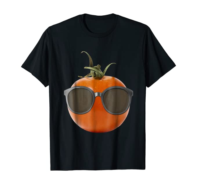 black t-shirt with a tomato wearing huge black sunglasses