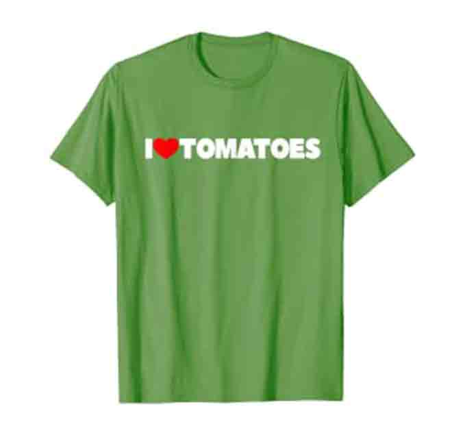 "green t-shirt with ""I"" followed by a red heart and the word ""Tomatoes"""