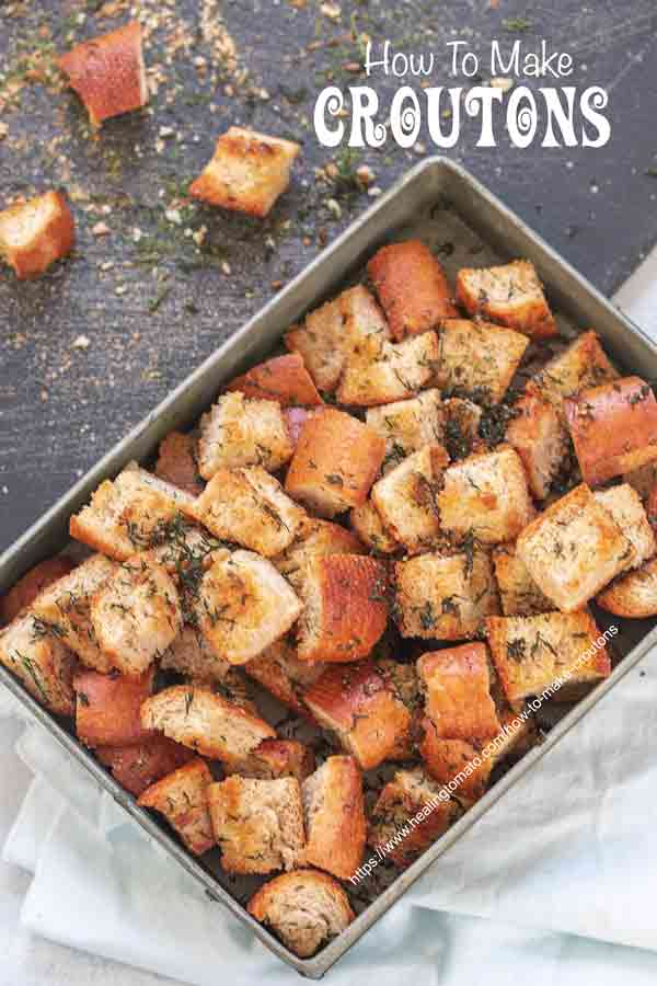 Top view of croutons in a grey tray