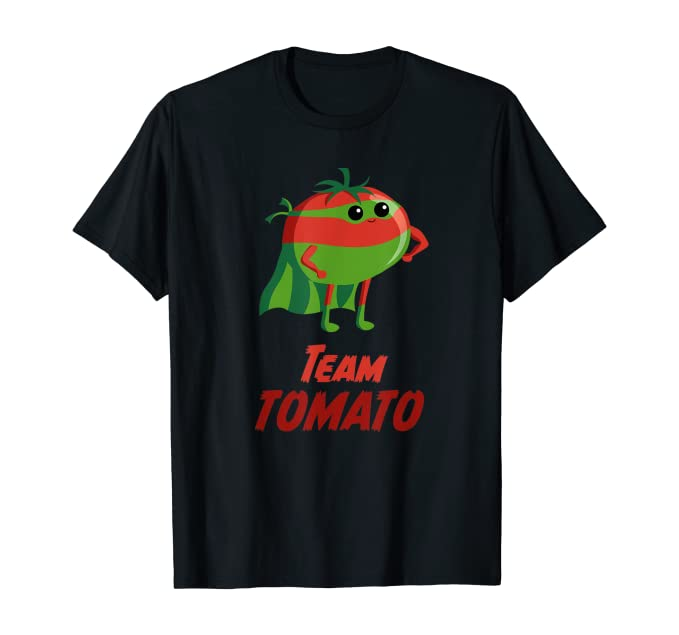 "Black t-shirt with a tomato in a cape and the words ""Team Tomato"" written on it."