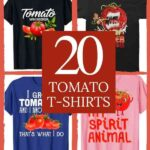 """collage of 4 t-shirts with various tomato inspired design. Words in the middle say """"20 Tomato T-Shirts"""""""