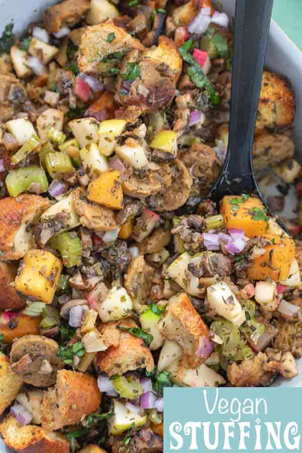 closeup view of vegan sausage stuffing