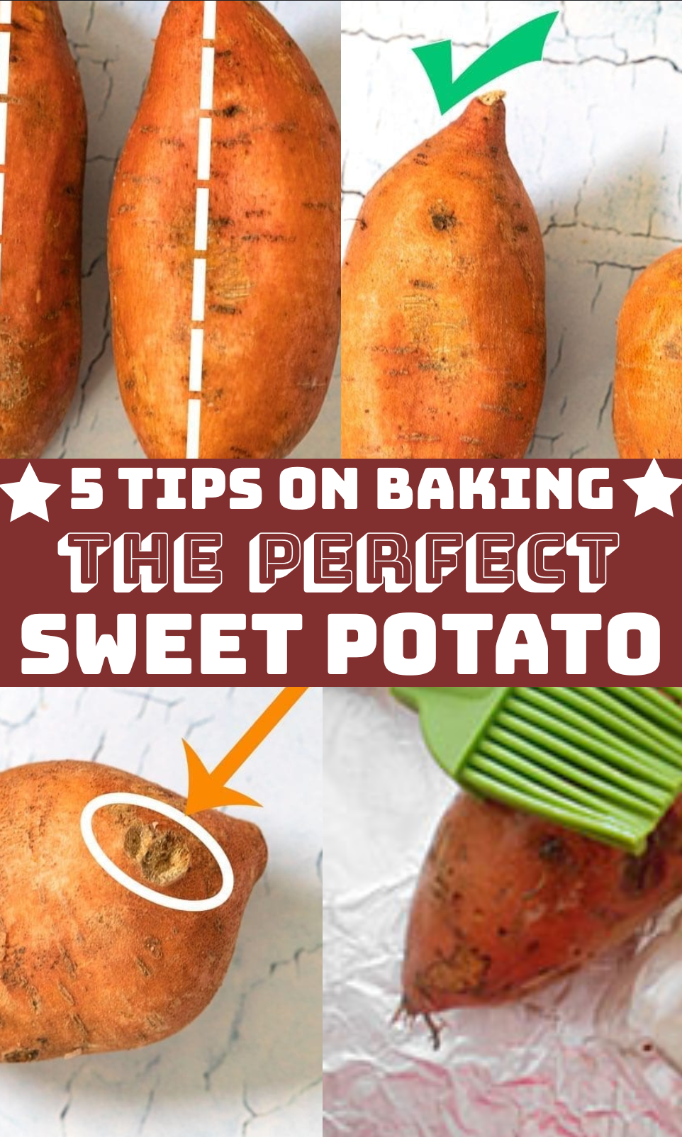 Collage of 4 images that show tips for baking a sweet potato