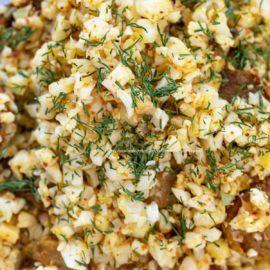Closeup view of the rice and vegan sausage