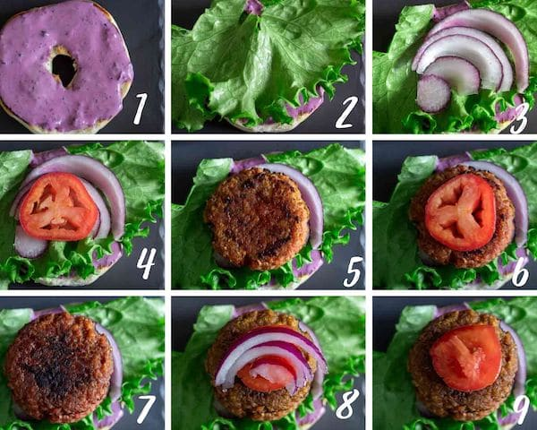 Collage of the 9 steps needed to assemble the breakfast burger