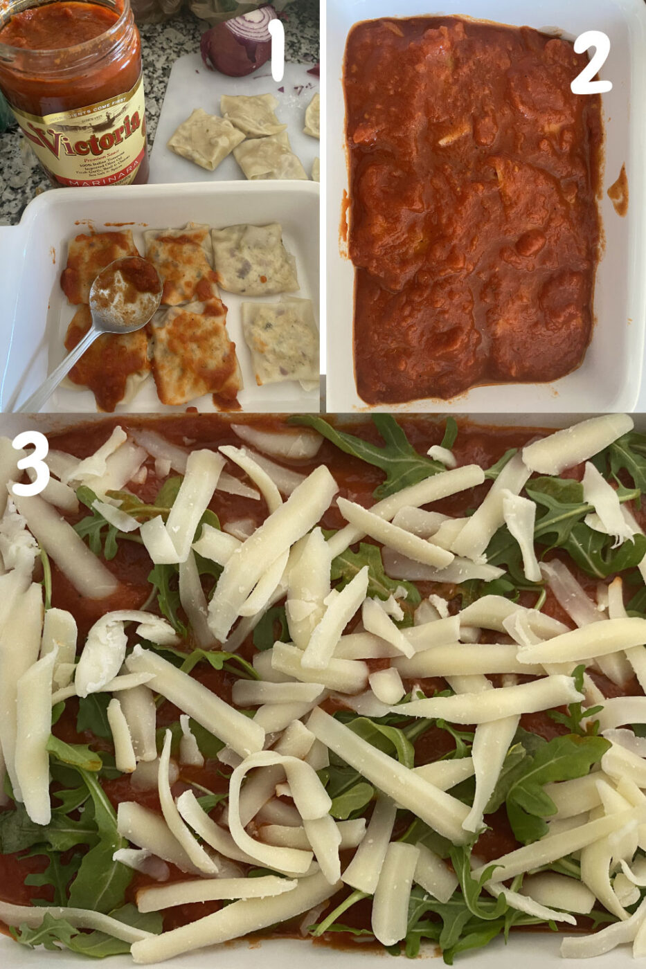 Collage of 3 images that show the 3 steps to make the final process of baking the ravioli. Start with a layer of ravioli, top with sauces, then another layer of ravioli, sauce, cheese and arugula