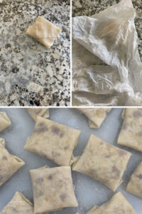 Collage of 3 images that show a folded ravioli, one ravioli under a wet paper towel and a final image of all the raviolis completed