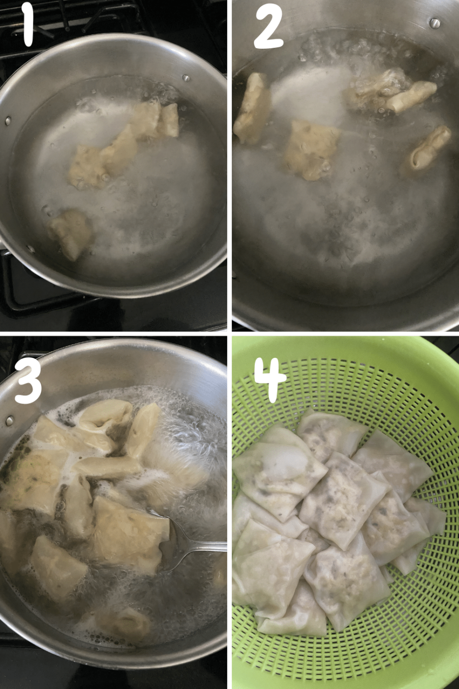 Collage of 4 images. First image is the wontons added to hot water, 2nd image is the wontons rising to the top, 3 image is the raviolis being removed using strainer and last image is the ravioli in a colander