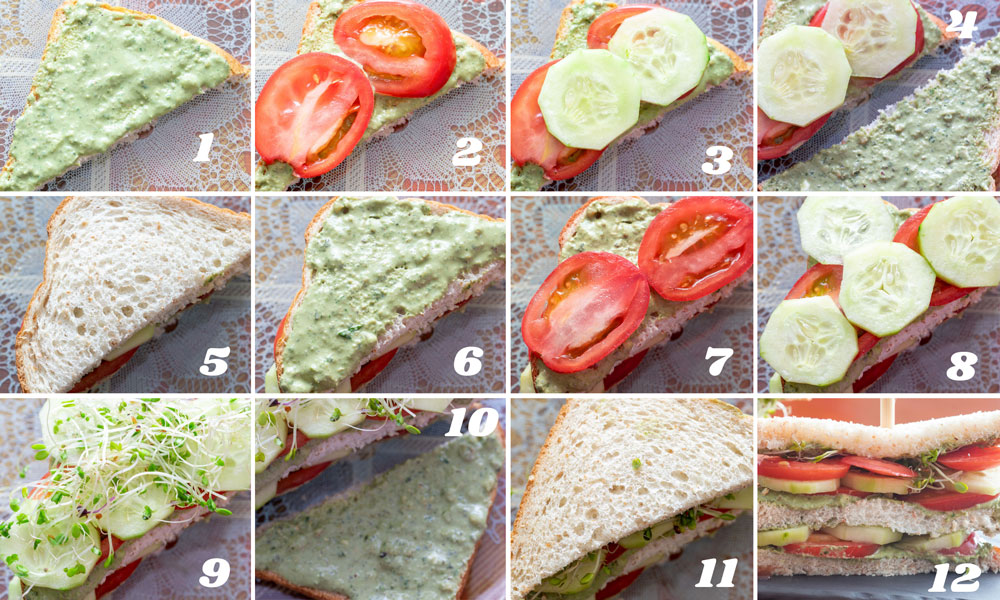 collage of 12 images showing the steps on how to assemble the sandwich