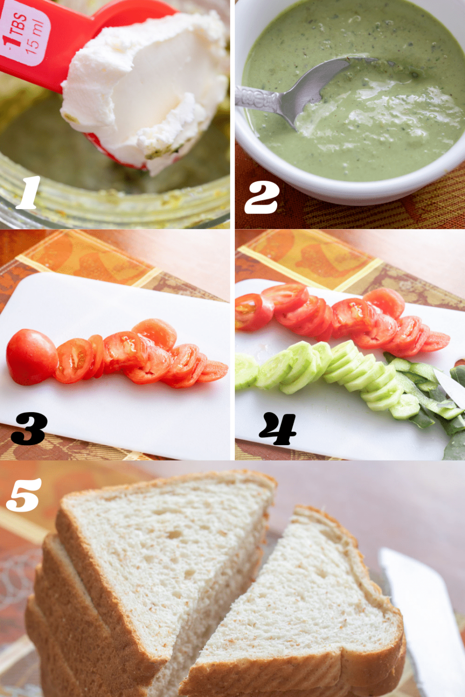 Collage of 5 images showing the preparation steps on needed for making it.