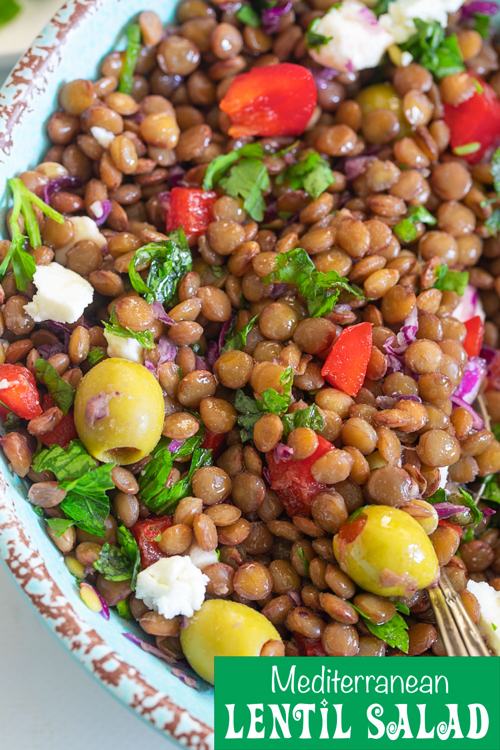Quick and easy 10 minute Mediterranean Lentil Salad cooked in the Instant Pot is a healthy, protein packed lunch recipe that is perfect for Mediterranean diet
