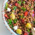 Closeup view of lentil salad in a light blue bowl with a spoon in it
