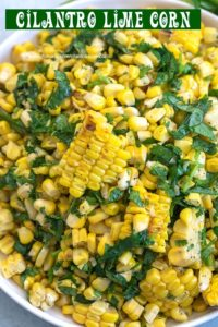 Top view of a bowl filled with grilled corn