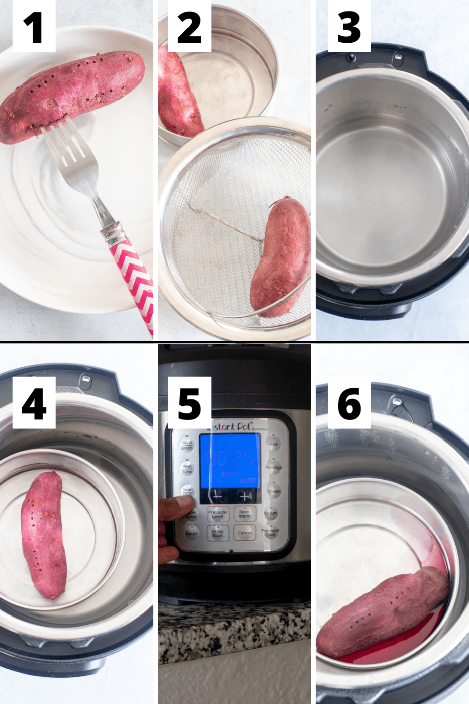 collage of 6 steps needed to cook the purple sweet potato in the Instant Pot