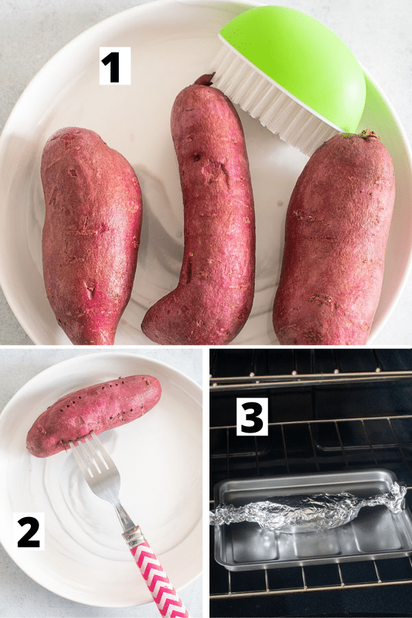 collage of 3 images to show how to bake the purple sweet potato in the oven.