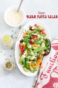 Top view of gnocchi pasta with veggies