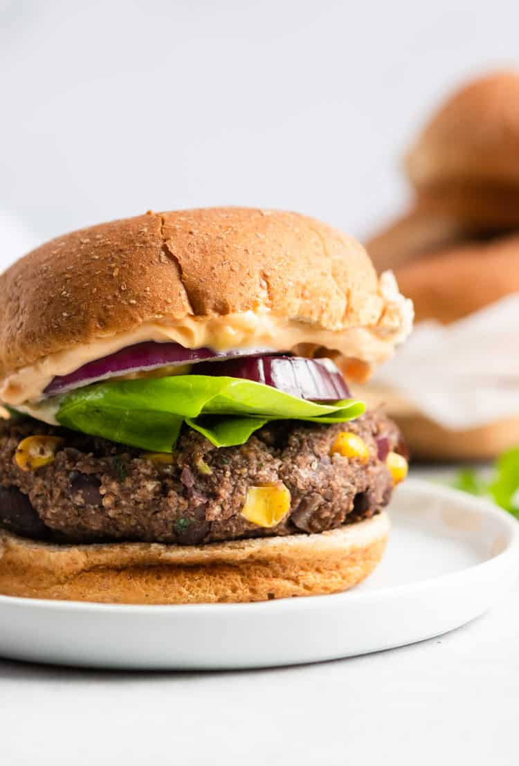 Front and closeup view of a black bean burger on a bun with lettuce and onion - By Lemon Zest