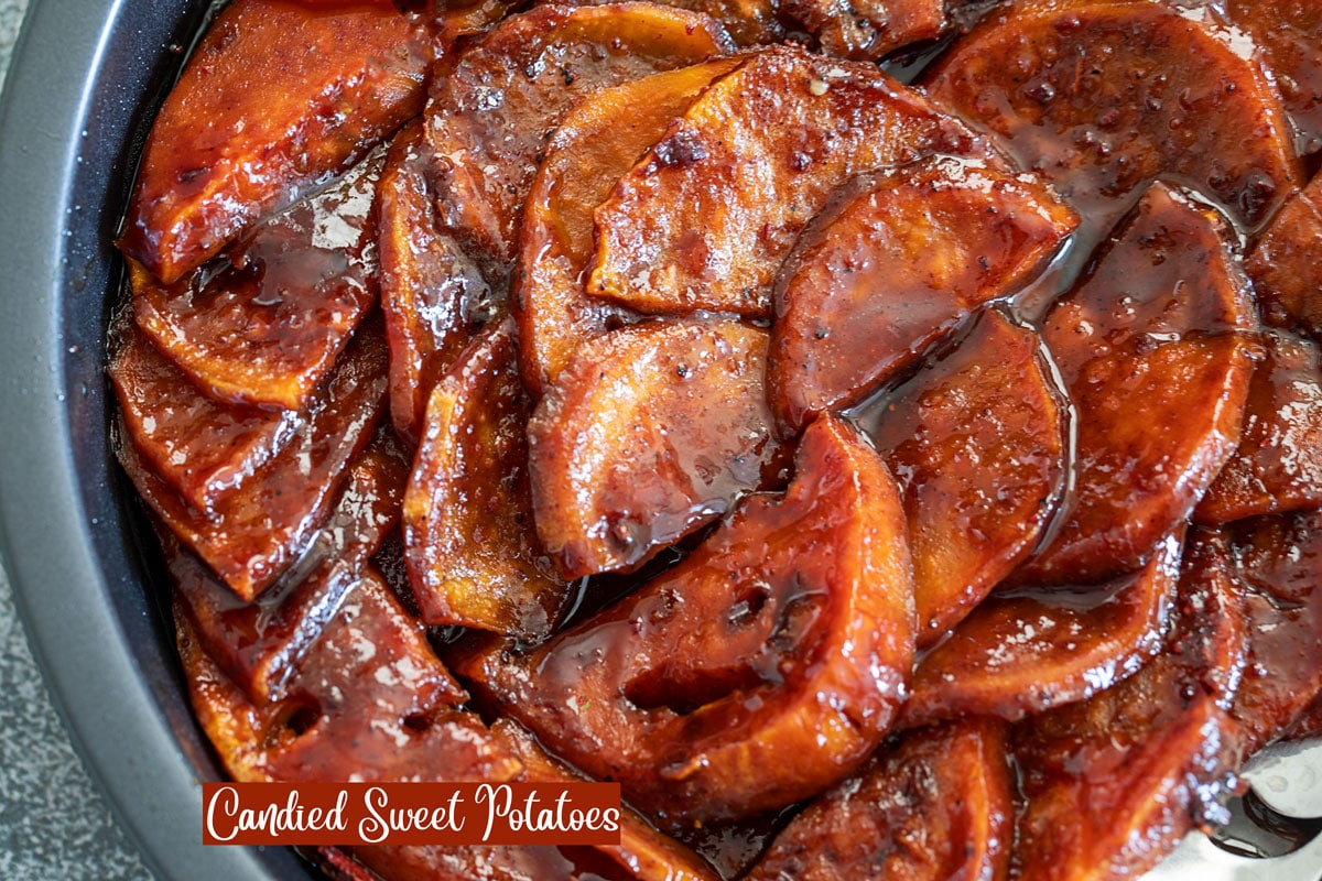 Closeup view of candied sweet potatoes